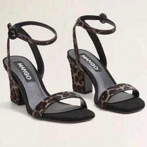 NWT Mango block heel cheetah sandals